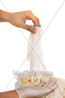 Medical Gloves With Hands Stock Photo
