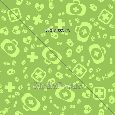 Medical Icons Seamless Pattern On Green Background Stock Photo