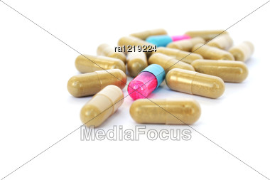 Medical Pills Isolated On White Background. Stock Photo