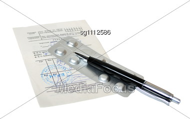 Medical Prescription And Pills Stock Photo