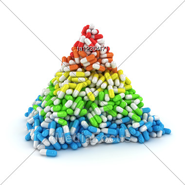 Medical Pyramid Made From Multicolored Layers Of Capsules Stock Photo