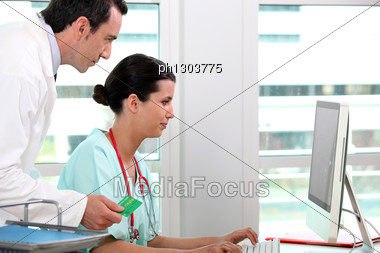 Medical Secretary And General Practitioner Stock Photo