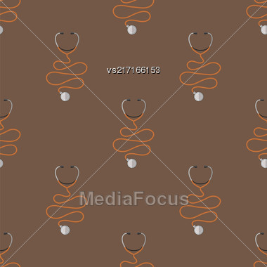 Medical Stethoscope Icon Seamless Pattern. Device Of Clinical Cardiology Stock Photo