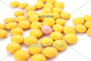 Medical Tablets Isolated On White Background. Stock Photo