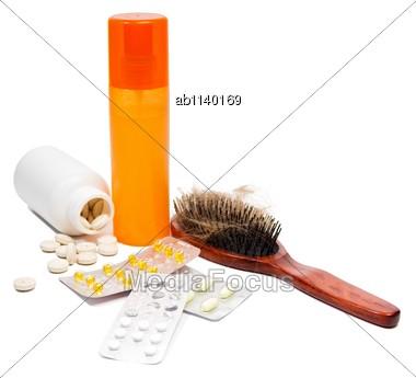 Medicine, Hair Spray And Vitamins For Hair Loss Stock Photo