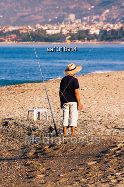 Mediterranean Coast Of Turkey, The Fisherman Behind Work Stock Photo