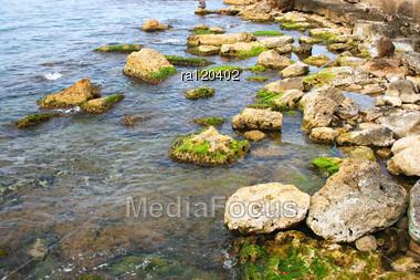 Mediterranean Sea Peaceful Scene. Stock Photo