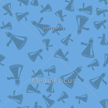 Megaphone Seamless Pattern. Speaker Texture On Blue Background Stock Photo