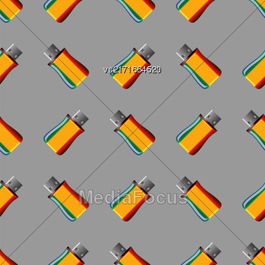 Memory Stick Seamless Pattern On Grey. Flash Computer Device Stock Photo
