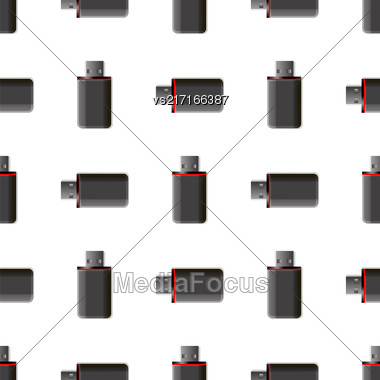 Memory Stick Seamless Pattern On White. Flash Computer Device Stock Photo