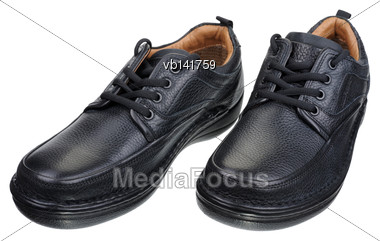 Men's Black Leather Shoes With Laces, Isolated On A White Background Stock Photo