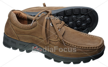 Men Brown Leather Shoes With Laces, Isolated On A White Background Stock Photo