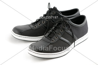 Men's Casual Black Shoes Stock Photo