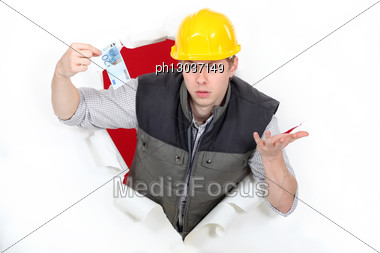 Men Coming Out Of Hole Paper Ticket In Hand Stock Photo