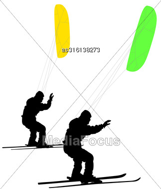 Men Ski Kiting On A Frozen Lake. Vector Illustration Stock Photo