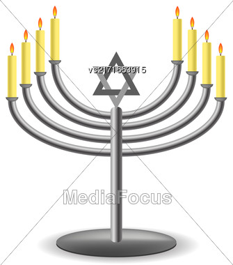 Menorah With Burninng Candles Isolated On White Background Stock Photo