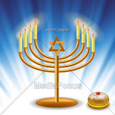 Menorah And Red Jelly Donat For Hanukkah On Blue Wave Background Stock Photo