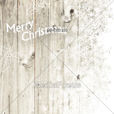 Merry Christmas Greeting Card With Isolated Side. Vector Stock Photo
