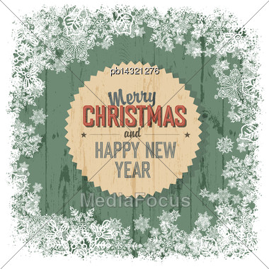 Merry Christmas Greeting On Green Wooden Background, Vector Stock Photo