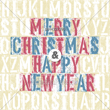 Merry Christmas Letterpress Concept With Colorful Letters Stock Photo