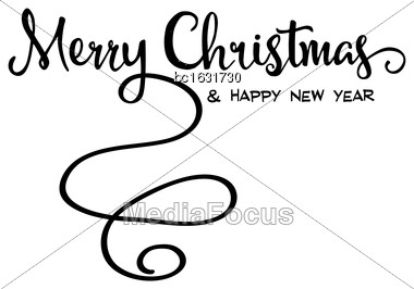 "Merry Christmas"" Retro Calligraphy, Isolated On White Background Stock Photo"