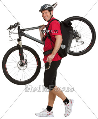 Messenger with His Bike Stock Photo