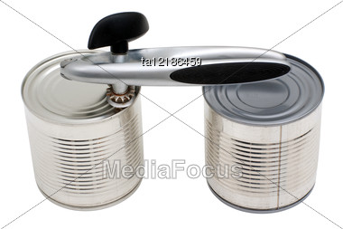 Metal Cans And Can-opener Stock Photo