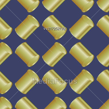 Metal Cans Seamless Pattern On Blue Background Stock Photo