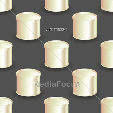 Metal Cans Seamless Pattern On Grey Background Stock Photo