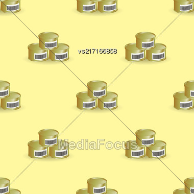 Metal Cans Seamless Pattern On Yellow Background Stock Photo