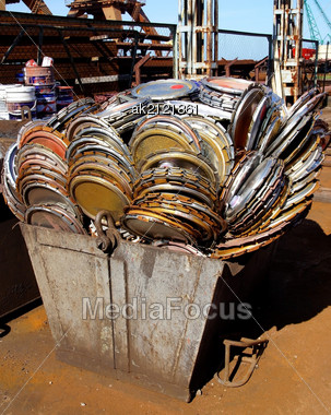 Metal Garbage Is Combined In The Container Stock Photo