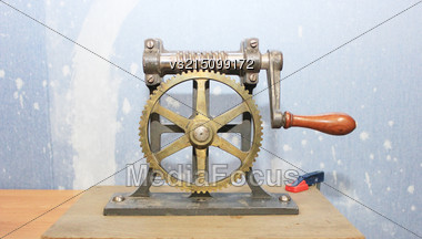 Metal Gears For Experiments. Gears Set Contacts. Interlocking Industrial Metal Gears Stock Photo