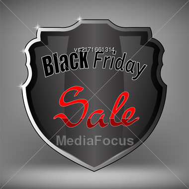 Metal Grey Shield Of Black Friday Sale On Soft Grey Background Stock Photo
