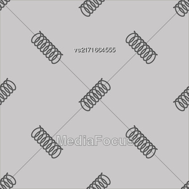 Metal Grey Spring Seamless Pattern On White Background Stock Photo