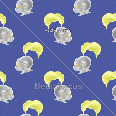 Metal Knight Helmet Seamless Pattern On Blue Background Stock Photo