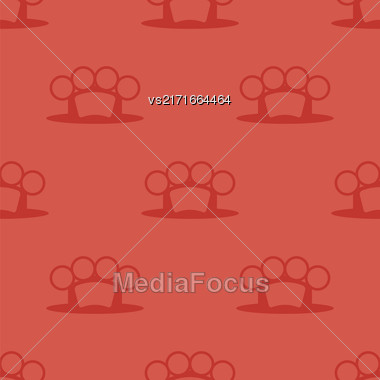 Metal Knuckles Silhouette Seamless Pattern On Red Stock Photo