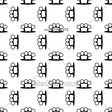 Metal Knuckles Silhouette Seamless Pattern On White Stock Photo