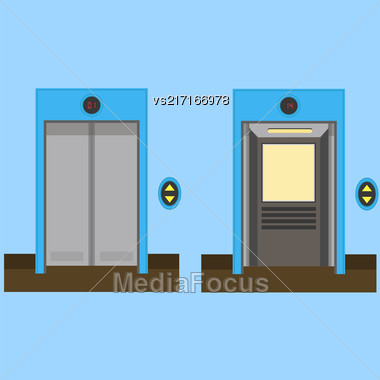 Metal Office Building Elevator On Blue Background. Closed And Open Doors Stock Photo