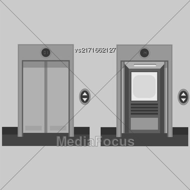 Metal Office Building Elevator On Grey Background. Closed And Open Doors Stock Photo