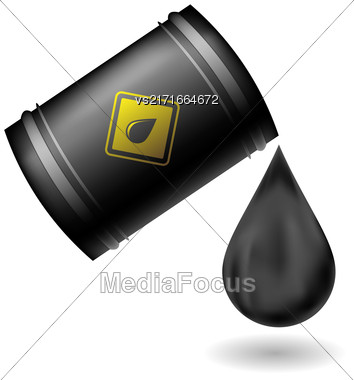 Metal Oil Barrel Isolated On White Background. Big Drop Of Oil. Fuel Droplet. Drop Of Oil Poured From A Black Barrel Stock Photo