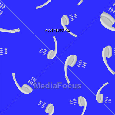Metal Shower Seamless Pattern With Drops Of Water On Blue Background Stock Photo