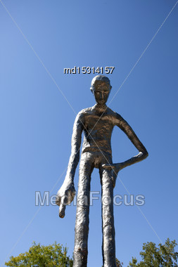 Metal Statue In Elora Ontario Man Standing Blue Sky Stock Photo