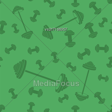 Metallic Dumbbell Seamless Background. Sport Fitness Pattern Stock Photo