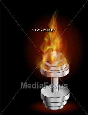 Metallic Dumbell And Fire Flame. Sport Fitness Background Stock Photo
