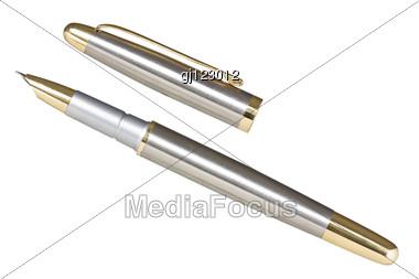 Metallic Fountain Pen Stock Photo
