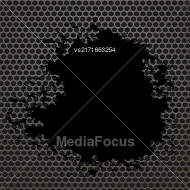 Metallic Grid Perforated Background. Black Splatters. Grey Metal Circle Pattern Stock Photo