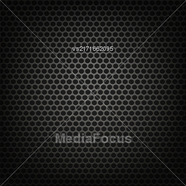 Metallic Grid Perforated Background. Grey Metal Circle Pattern Stock Photo