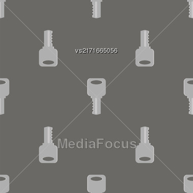 Metallic Keys Isolated On Grey Background. Seamless Grey Key Pattern Stock Photo
