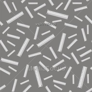 Metallic Ruler Seamless Pattern On Grey Background Stock Photo