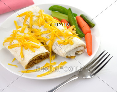 Mexican Burrito With Ground Beef Stock Photo